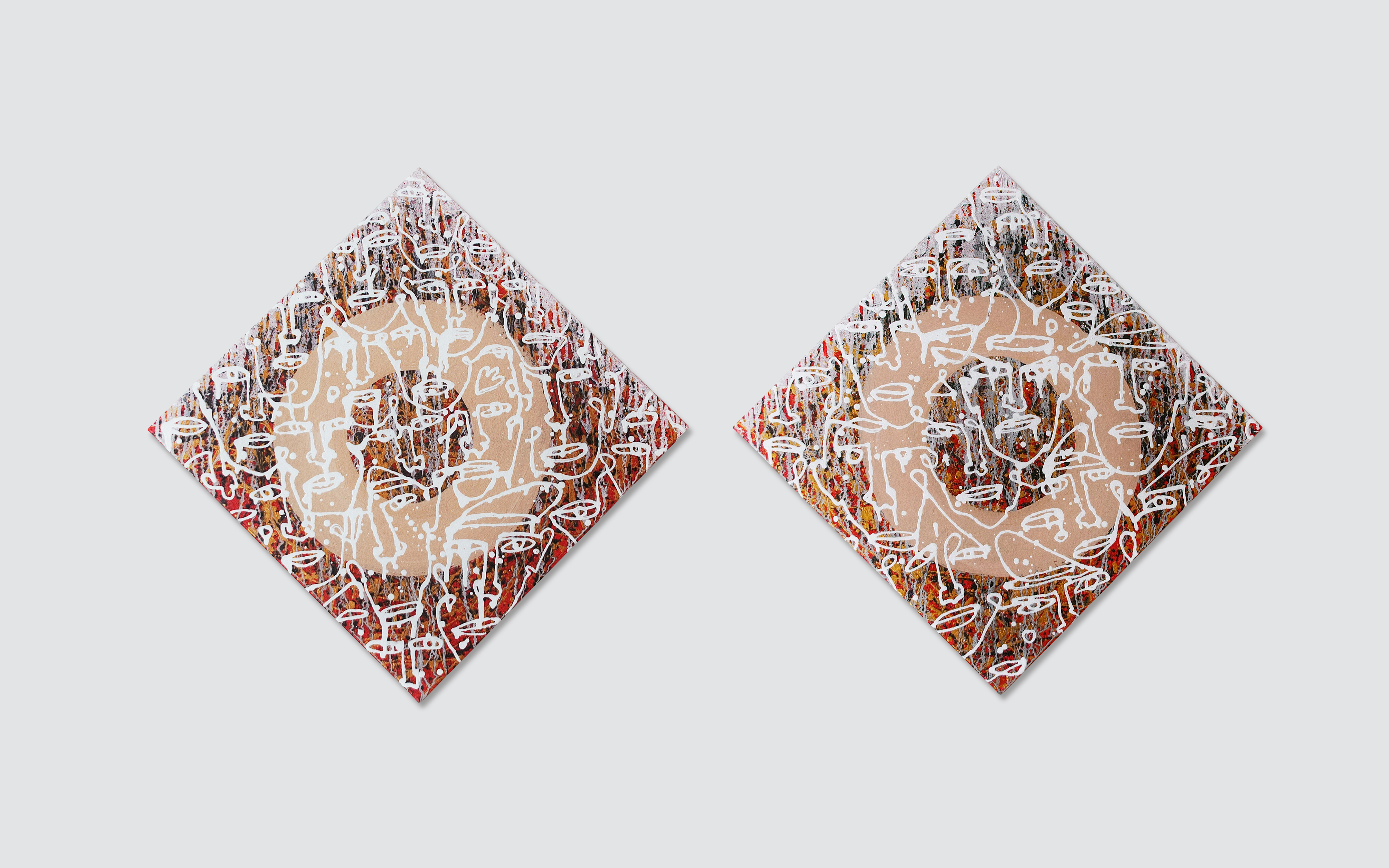 Cycle of life - contemporary Ukrainian art - diptych two square paintings - white monoline faces on a red and gold