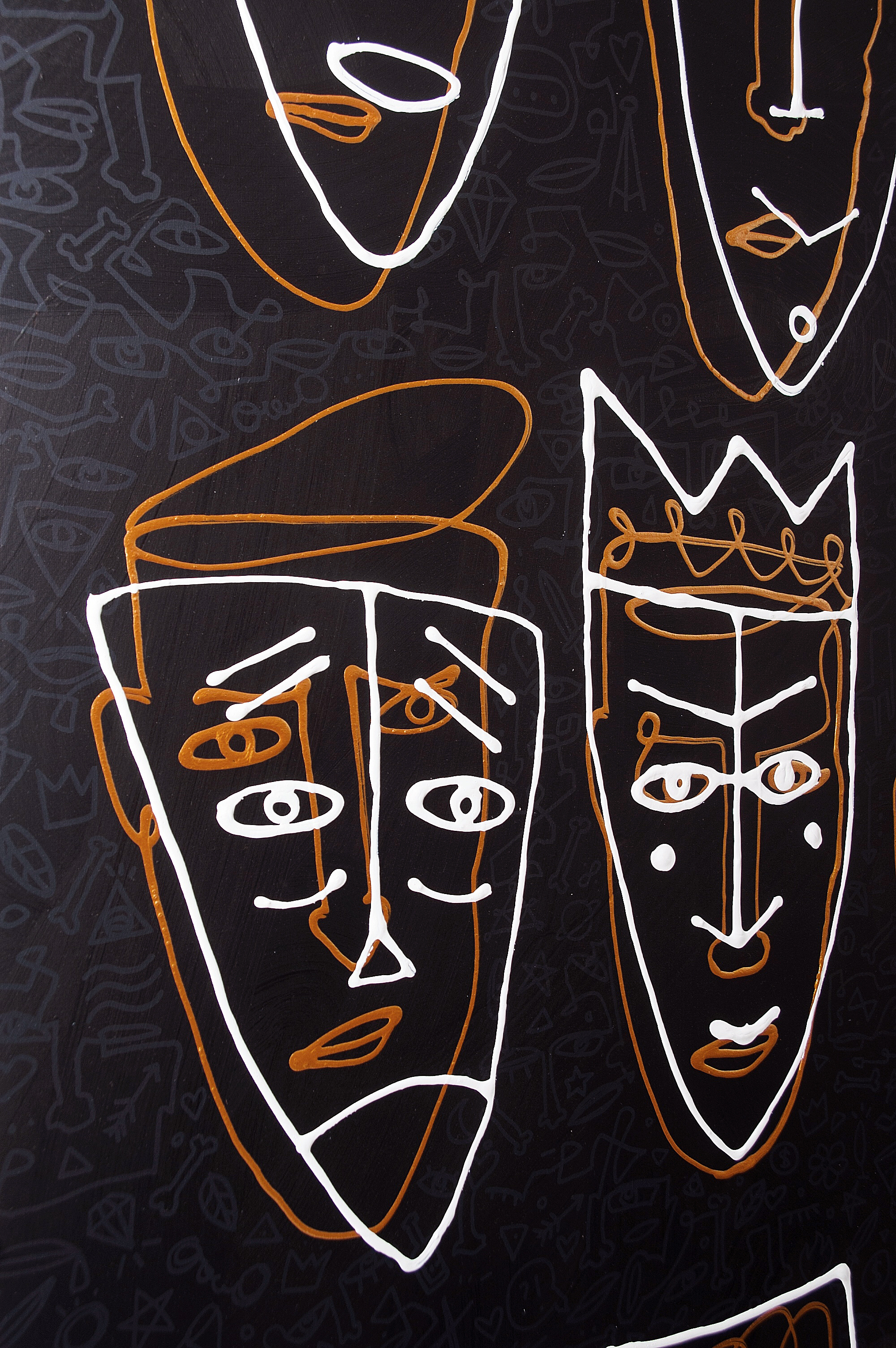 Who am I? - contemporary artwork - monoline white and gold faces on black - masks on faces - pattern with objects on the back