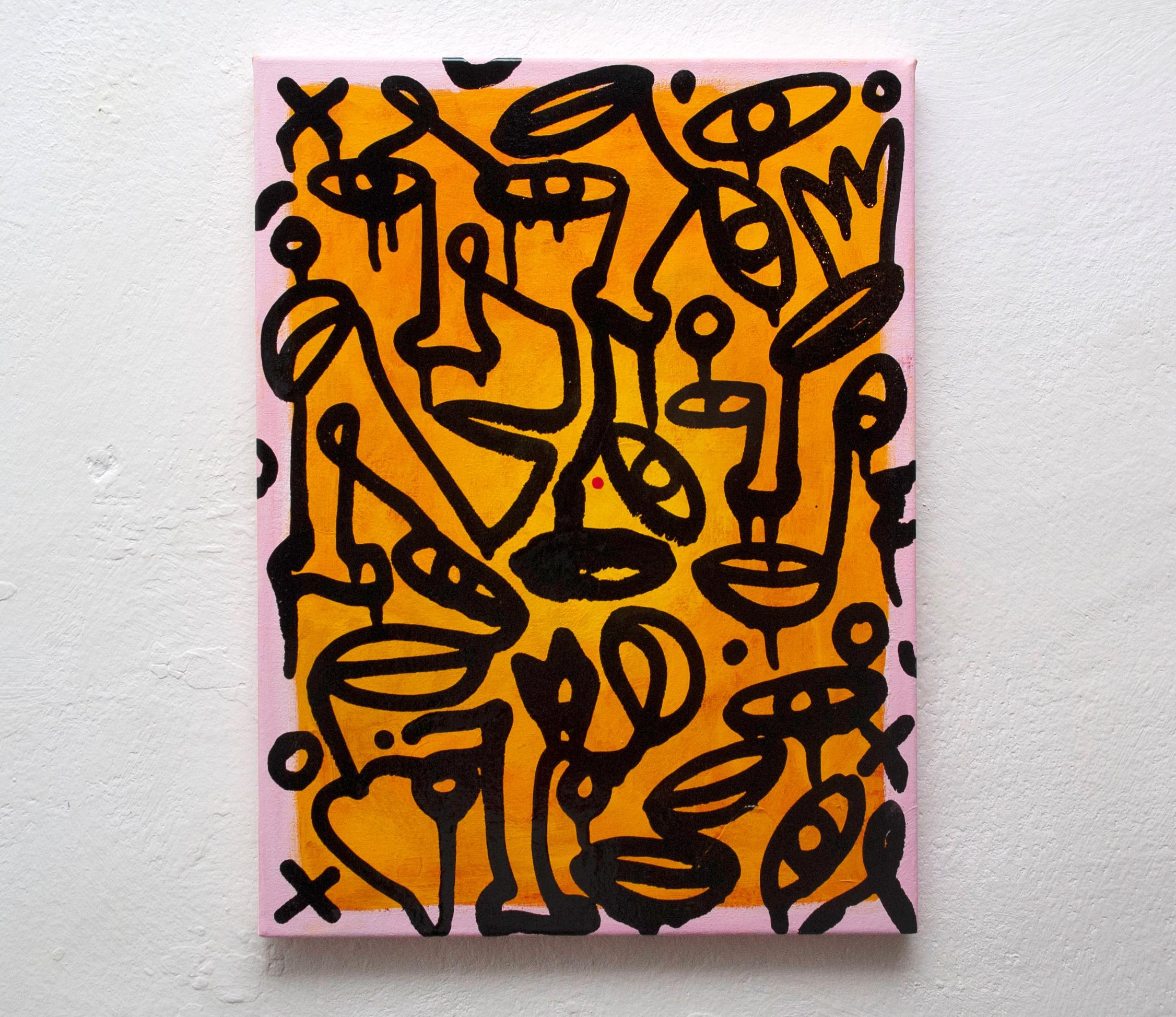 Light Fire Dreams Burn - contemporary Ukrainian art - monoline faces on bright yellow