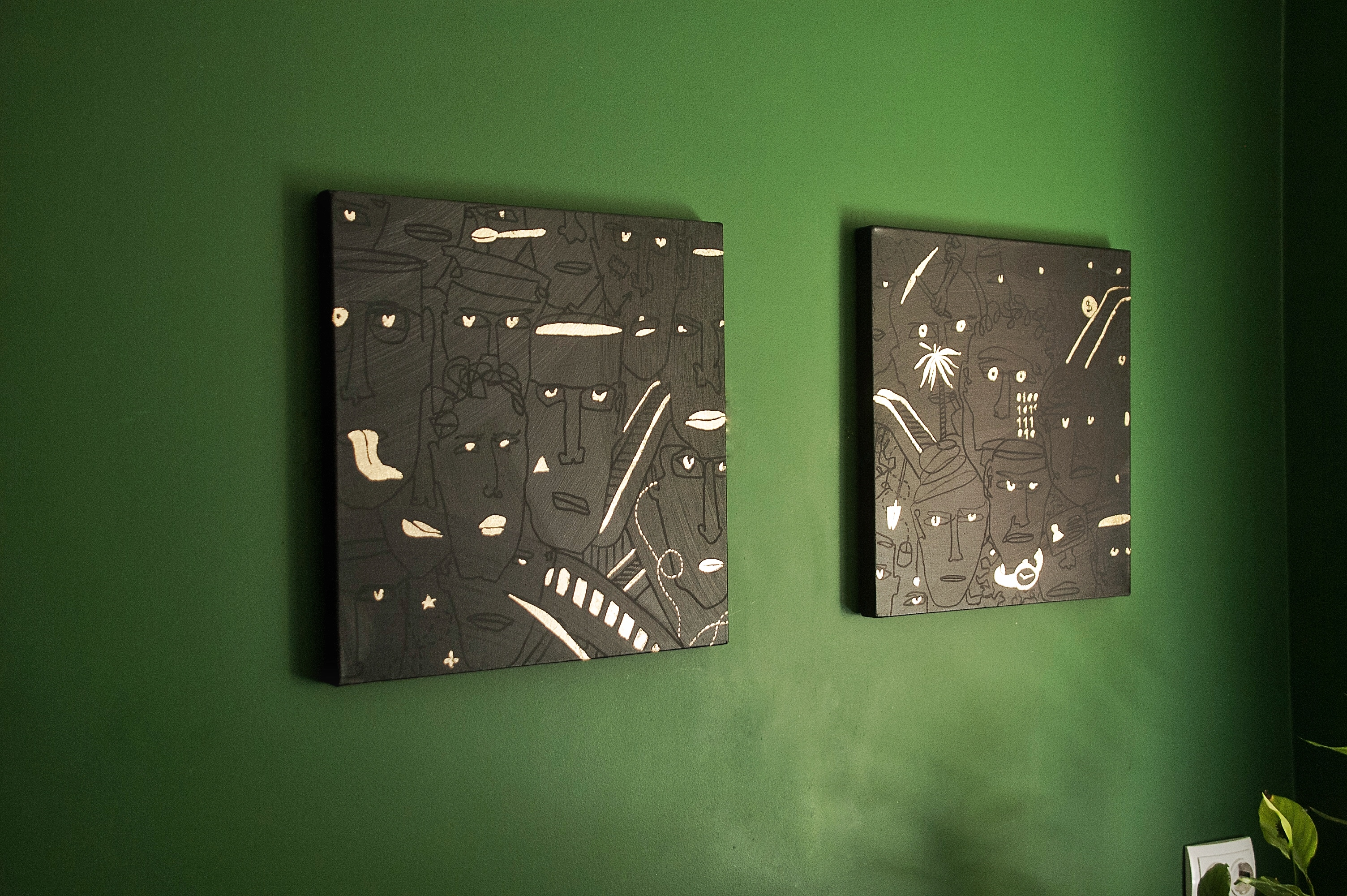 And only shine of gold in their eyes – contemporary Ukrainian art - monoline faces and eyes on black and gold - Polyptych