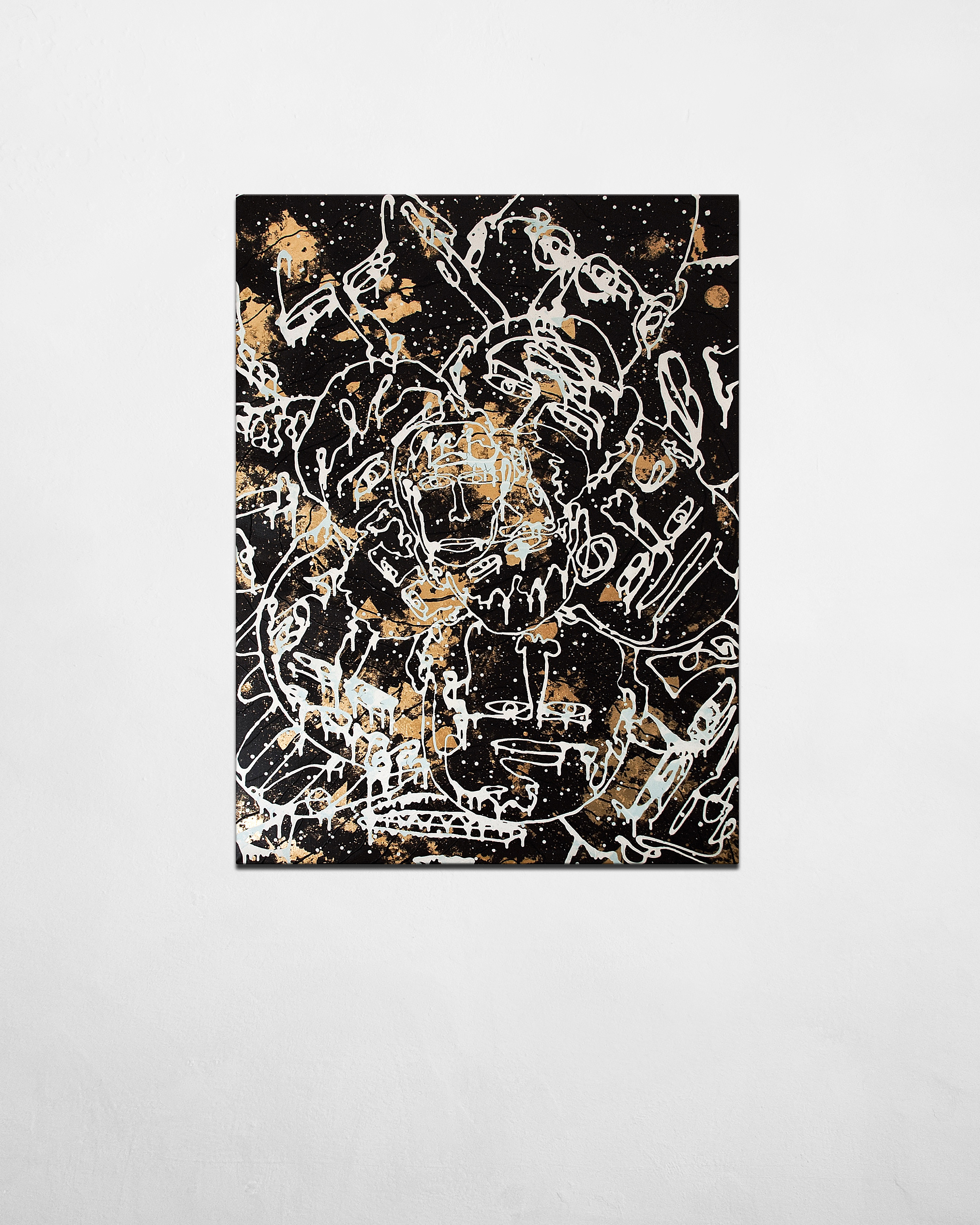 Gold that is deep inside me - contemporary artwork - gold and black