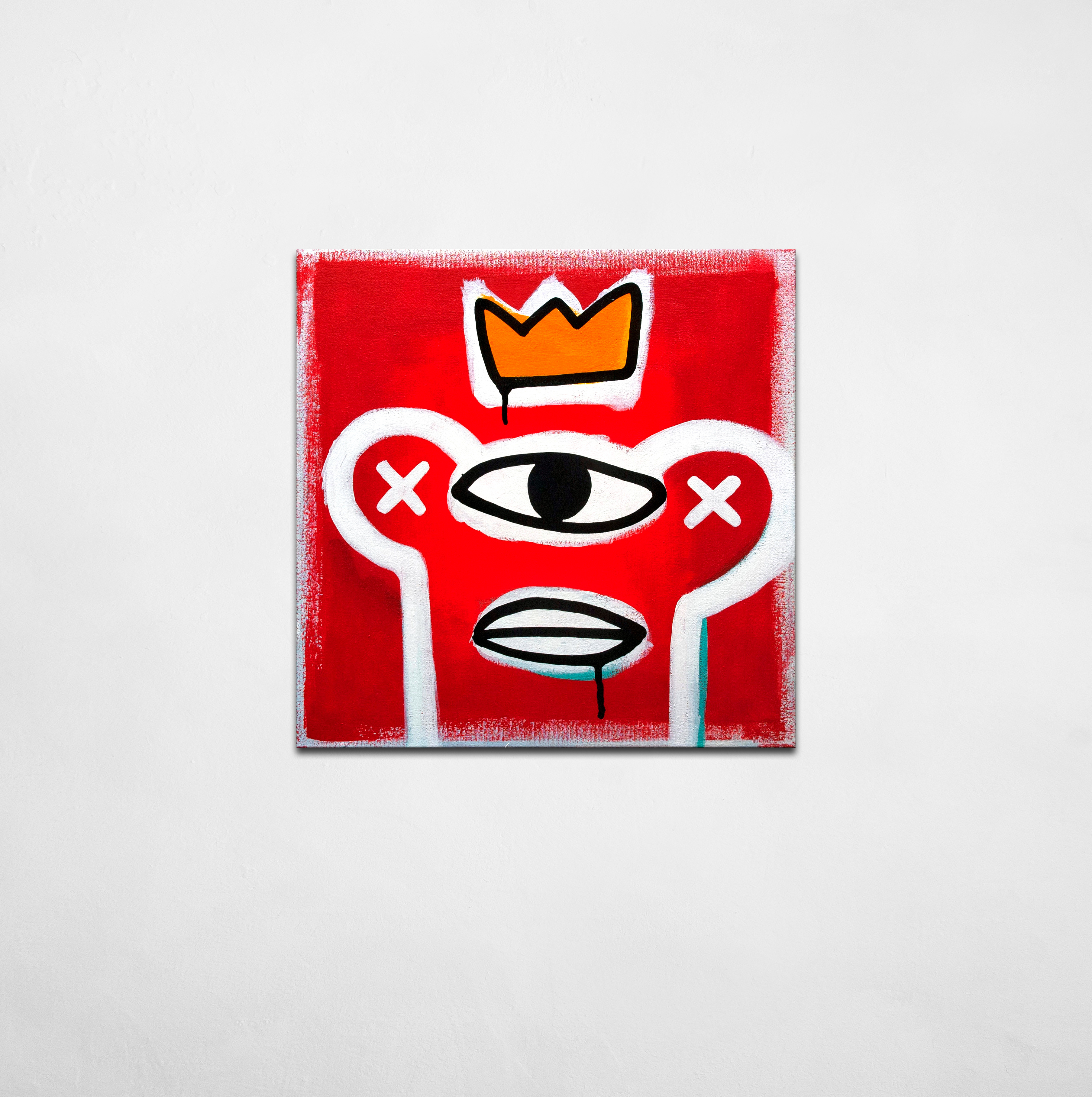 Knowledge Confidence Stone - contemporary artwork - monster in crown with one big eye on red background