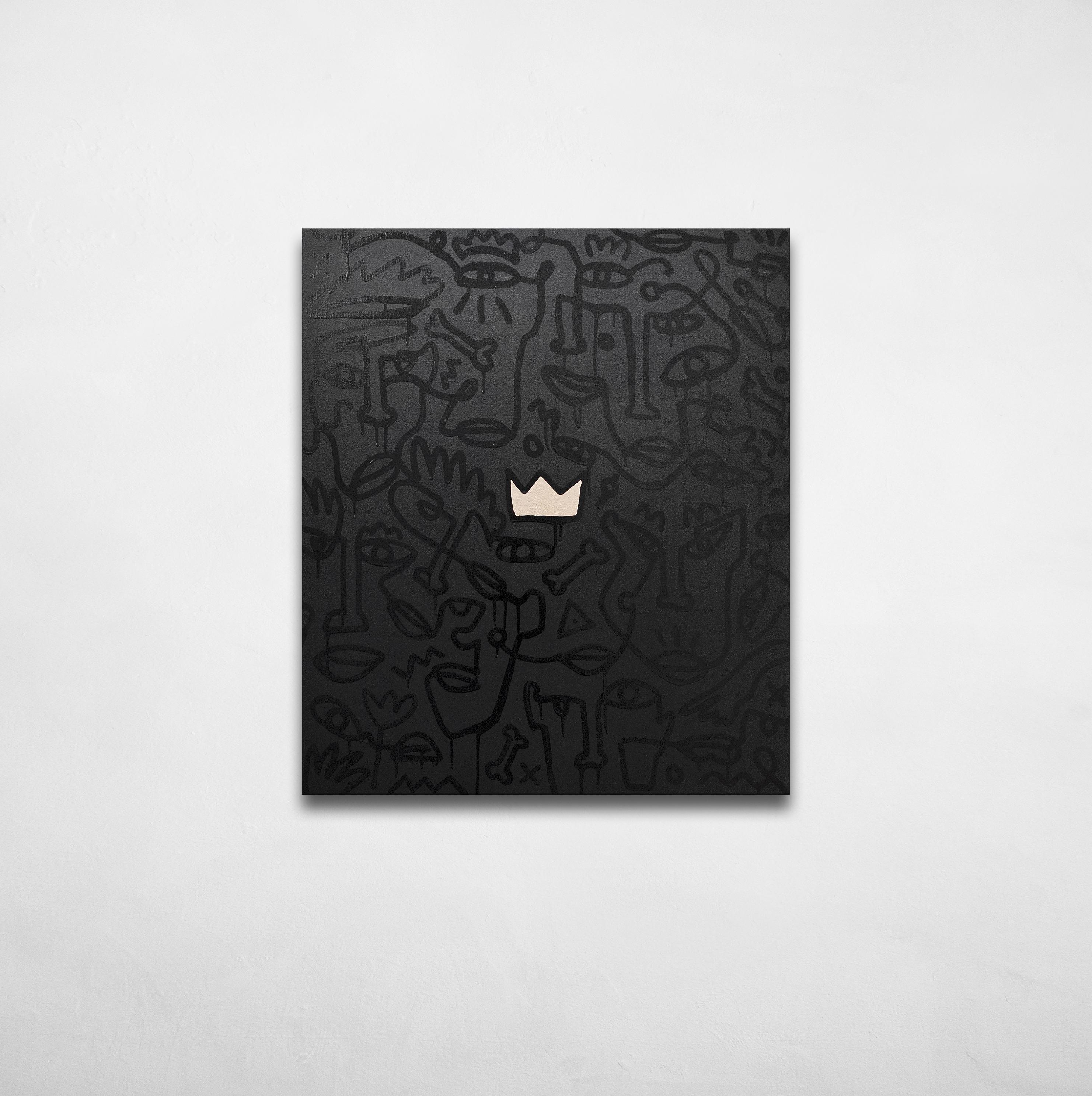 Black Velvet Future - contemporary Ukrainian art - monoline faces on a black with crown in the center - black on black picture