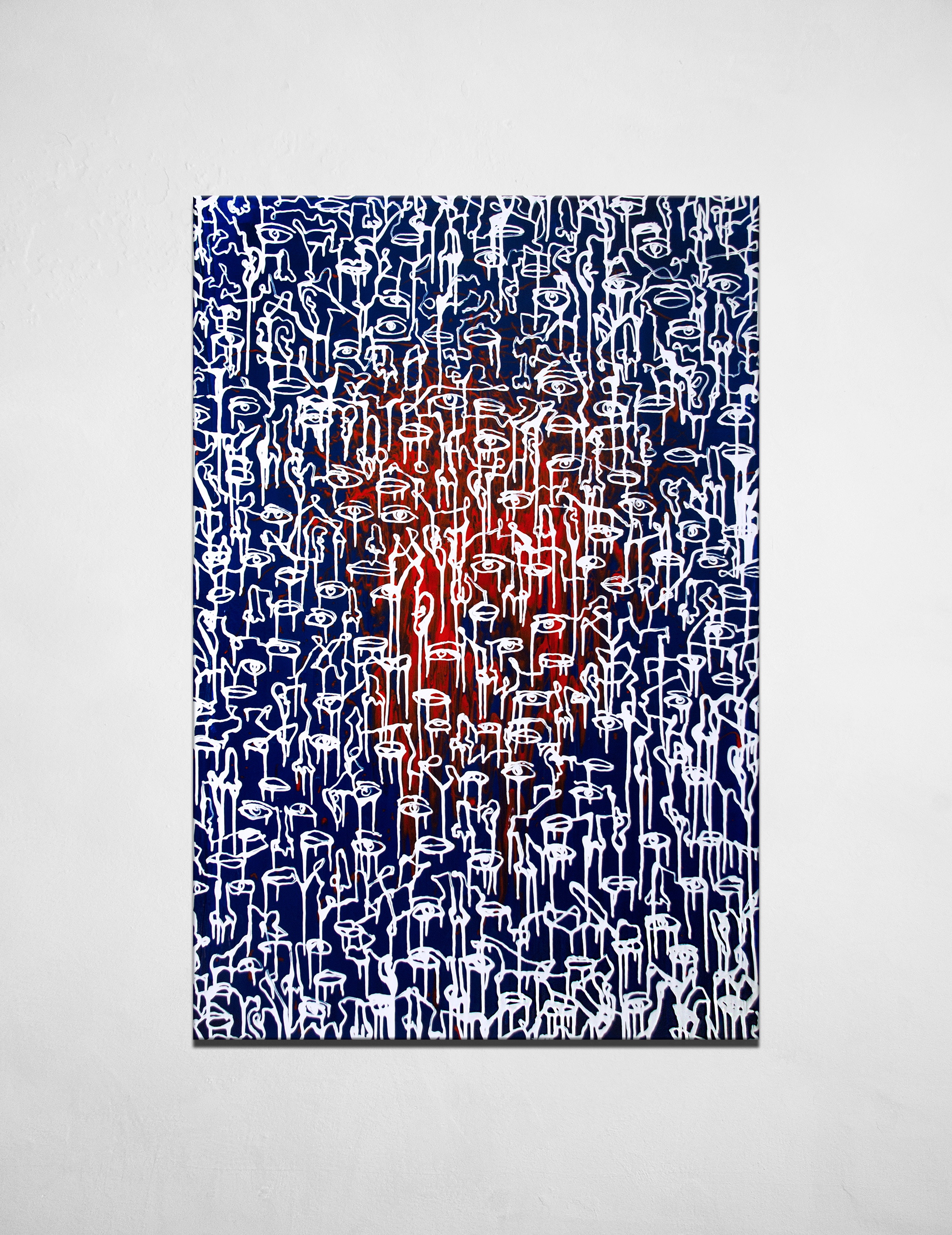 The silence of forever petrified - contemporary Ukrainian artwork - white monoline eyes and leaps on the blue and red