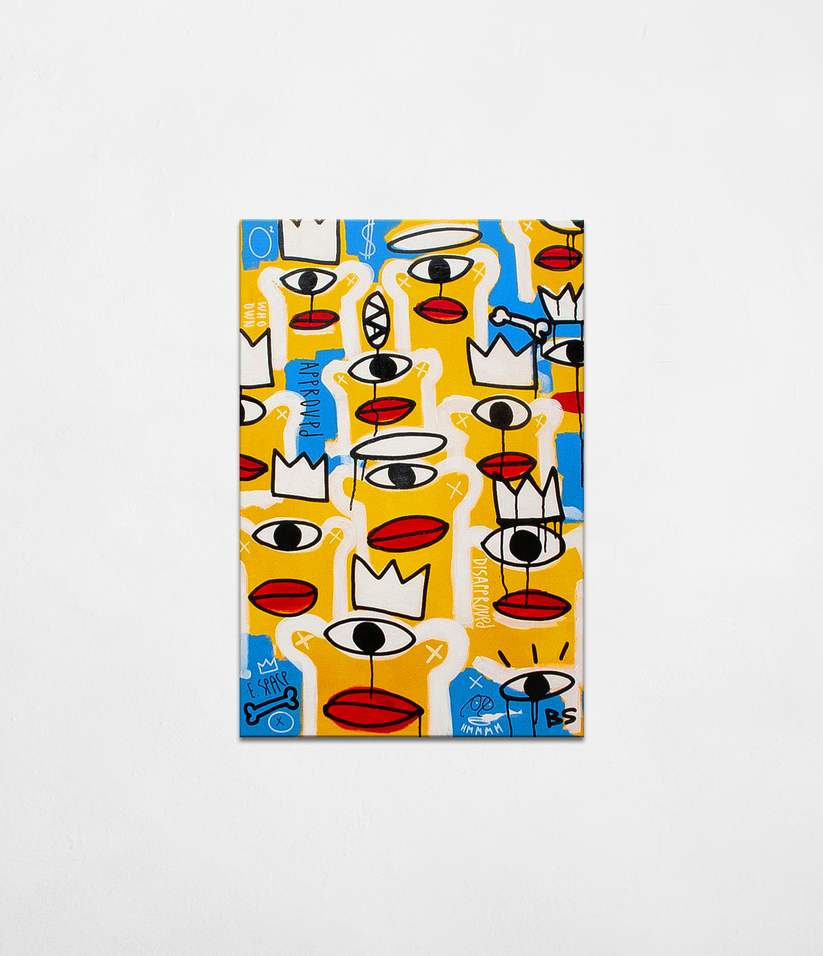 Instant opinion - contemporary artwork of young Ukrainian artist Bohdan Svyrydov. Crowd of characters on the blue and yellow background